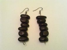 Black wooden nugget earrings